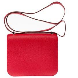 Hermès-Splendid Hermès Mini Constance bag 18cm red epsom leather jacket, palladium silver metal trim, New condition-Red