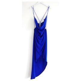 Haney-Holly Blue Silk Dress-Blue