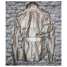 Burberry-BURBERRY lined BREASTED TRENCH COAT JACKET-Golden