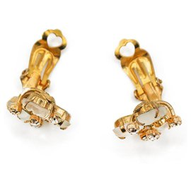 Dior-Boucles d'oreilles Dior Feuilles blanches et dorées-Bijouterie dorée
