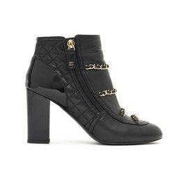 Chanel-BLACK CLASSIC CHAINS FR37.5-Black