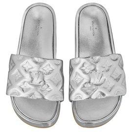 Louis Vuitton-LV Jumbo Flatform Mules-Silvery