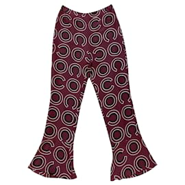 Chanel-Pants, leggings-Dark red