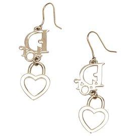 Dior-Boucles d'oreilles Dior avec logo coeur doré-Doré