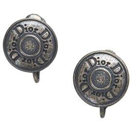 Dior-Boucles D'oreilles Clip Dior Silver Logo-Argenté