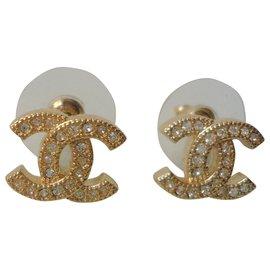 Chanel-CHANEL New CC motif stud earrings-Gold hardware