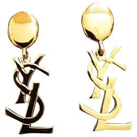 Yves Saint Laurent-YVES SAINT LAURENT.  LOGO CLIPS.-Gold hardware