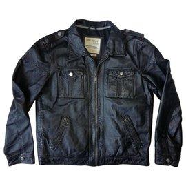 Autre Marque-TOM TAILOR London Music Club Black Leather Jacket, Size 56-Black
