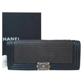 Chanel-Chanel Chainmail Leather Long Boy Clutch-Black