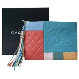 Chanel-Chanel 2017 Large Colorblock O-case Orange Blue Multicolor  Leather Clutch-Multiple colors