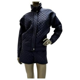 Chanel-Chanel Quilted Jacket Shorts Suit Sz.38-Black