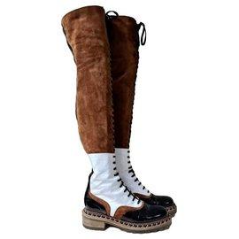 Chanel-Chanel Paris Salzburg Multicolour Leather Suede Over Knee Boots Sz. 38,5-Multiple colors