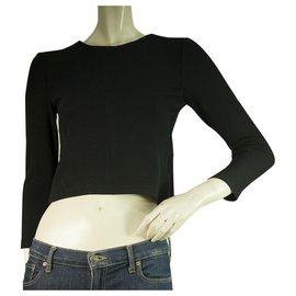 Alice + Olivia-Alice + Olivia Black Viscose with Back & Side Zippers Cropped Top Size XS-Black