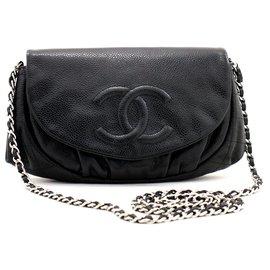Chanel-CHANEL Caviar Half Moon WOC Black Wallet On Chain Shoulder Bag-Black
