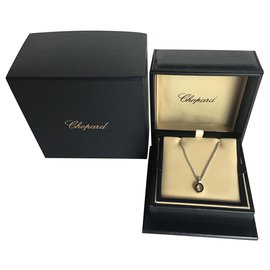 Chopard-Chopard Happy Diamonds 18K Gold Diamond  Oval Pendant Necklace-Silvery