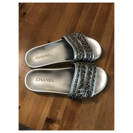 Chanel-Mules-Silvery