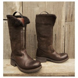 Free Lance-Free Lance lined boots Geronimo model-Dark brown