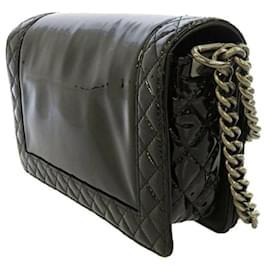 Chanel-Chanel Black Boy Patent Leather Crossbody Bag-Black