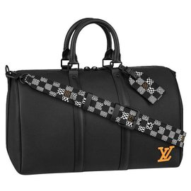 Louis Vuitton-LV Keepall 40 new black leather-Black