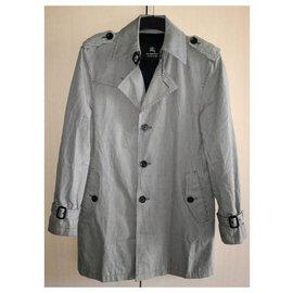 Burberry-Black Label Japan Plaid Cotton Trench Coat, size L-Grey
