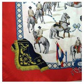 "Hermès--CARRÉ HERMÈS titled: ""Réal Escuela Andaluza del Arte Equestre""-Red"