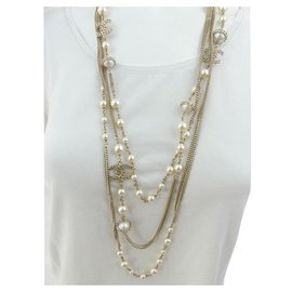 Chanel-necklace 6 rows of gold metal and pearl pearl CHANEL Collection 2016-Cream,Gold hardware
