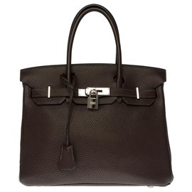 Hermès-Splendid Hermès Birkin bag 30 in brown Togo, Palladium-plated silver metal trim-Brown