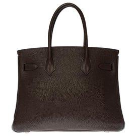 Hermès-Splendide Sac Hermès Birkin 30 en Togo marron, garniture en métal argenté palladié-Marron