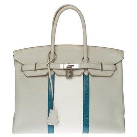 Hermès-Splendid and Rare Hermès Birkin Club 35cm in pearl gray Taurillon Clémence leather and Mykonos blue lizard, Palladium-plated silver metal trim-White,Blue,Grey