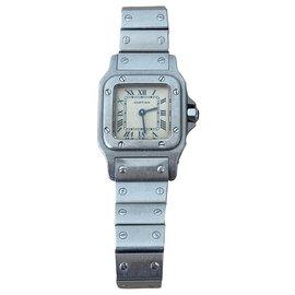 Cartier-Relógio Cartier Santos PM em Aço-Prata