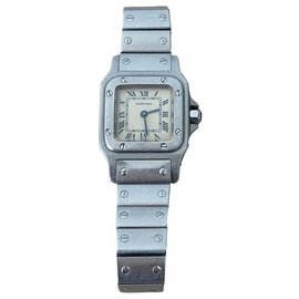 Cartier-Cartier Santos PM watch in Steel-Silvery