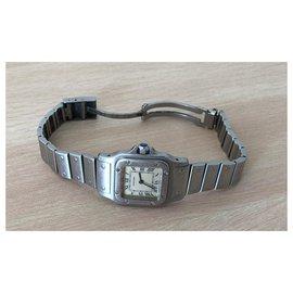 Cartier-Cartier Santos PM Uhr in Stahl-Silber