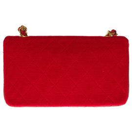 Chanel-Splendid Chanel Mini Timeless bag in jersey and red quilted leather, garniture en métal doré-Red