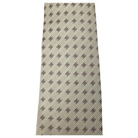 Hermès-Hermes beige tie with H patterns-Beige