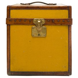 Louis Vuitton-Splendid Louis Vuitton Hat Trunk in orange Vuittonite, leather and solid brass years 1920/1930-Orange