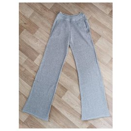Chanel-Cashmere CC logo jogging pants / flared leggings-Grey