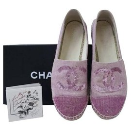 Chanel-Chanel Pink Canvas CC Logo Espadrilles Sz 38-Pink