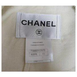 Chanel-Chanel 11C ECRU TWEED LACE CAMELLIA  GOLD CC logo Button Jacket Skirt Suit Sz.44-Multiple colors