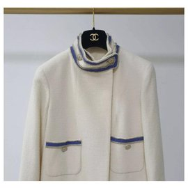 Chanel-Chanel 2014 Resort Summer Runway Ecru Ivory Blue Trim Military Wool Coat Sz.36-Beige