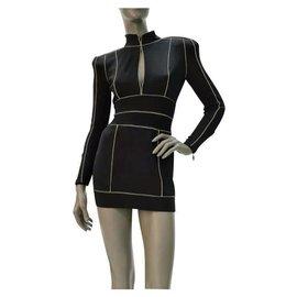 Balmain-BALMAIN Trimmed Viscose  Black Dress Sz.36-Black