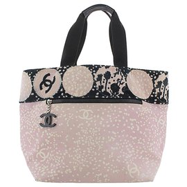 Chanel-Chanel Pink High Summer Canvas Tote Bag-Black,Pink,Other