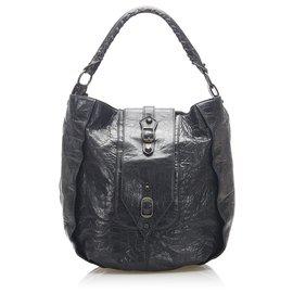 Balenciaga-Balenciaga Black Leather Shoulder Bag-Black
