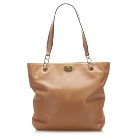 Chanel-Chanel Brown Lambskin Leather Tote Bag-Brown