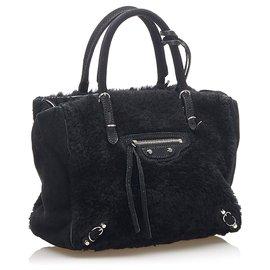 Balenciaga-Balenciaga Black Mini Papier A4 Fur Satchel-Black