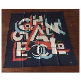 Chanel-SCARF CHANEL SILK-Navy blue