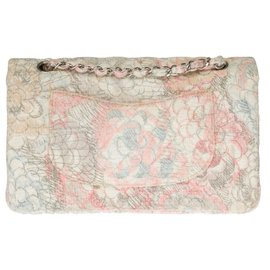 Chanel-Splendid and very Rare Chanel Timeless Camellia bag in multicolored tweed, Garniture en métal argenté-Pink,Blue,Beige,Grey