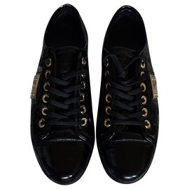 Dolce & Gabbana-DOLCE AND GABBANA PATENT LEATHER SNEAKERS-Black