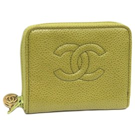 Chanel-Chanel Yellow CC Caviar Zip Around Leather Small Wallet-Yellow