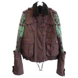 Dior-SS05 Veste doublée de fourrure à manches en tricot-Marron