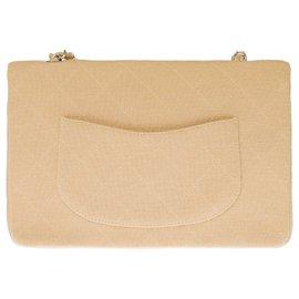 Chanel-Lovely Chanel Timeless bag in beige quilted jersey, Garniture en métal argenté-Beige
